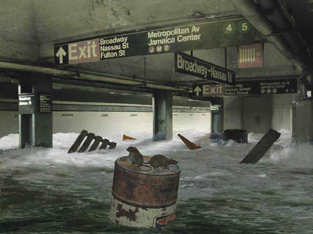 New York subway flooded - by Kenn Brown